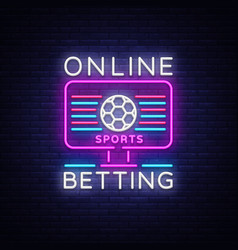 Online betting neon sign sports betting online vector