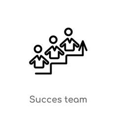Outline succes team icon isolated black simple vector