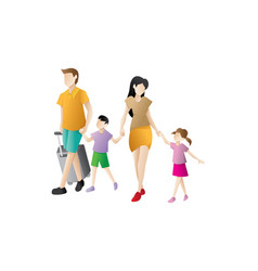 parents with children are going on vacation vector image