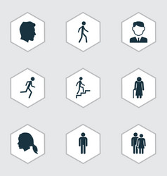 Person icons set collection of ladder vector