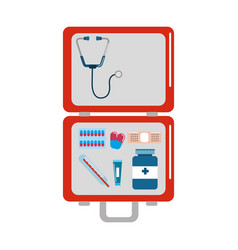 Red first aid kit emergency vector