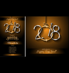 Restaurant menu template for 2018 new year dinners vector
