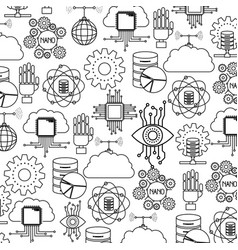Robotic technology and server storage pattern vector