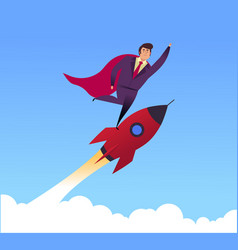 rocket business startup concept flat vector image