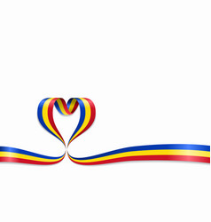 romanian flag heart-shaped ribbon vector image