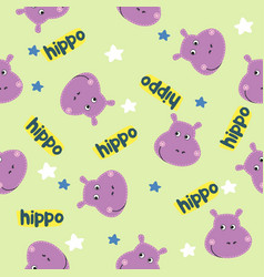 seamless cartoon texture with hippo and stars vector image
