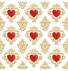 seamless damask pattern with beautiful ornamental vector image