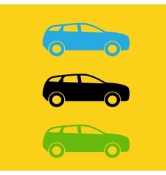set colorful car silhouette vector image