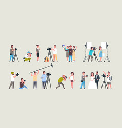 Set different poses photographers and cameramans vector