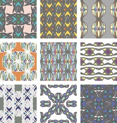 Set of seamless pattern with abstract ornament vector image