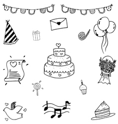 Set of sketch cute party doodle vector