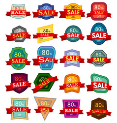 set of twenty discount stickers vector image