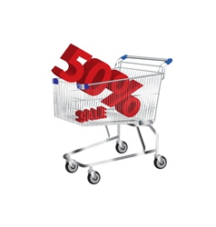 shopping cart with sale and 50 symbol inside vector image vector image