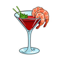 Shrimp cocktail pop art vector