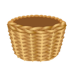 Single handle wicker basket isolated vector