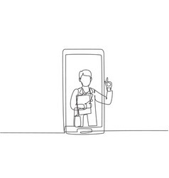 single one line drawing male doctor comes out vector image
