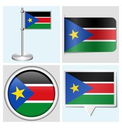 South Sudan flag - sticker button label vector image vector image