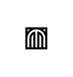 square stripes logo letter m vector image