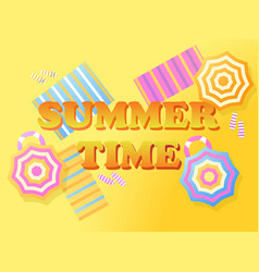 Summer time banner beach top view beach umbrella vector