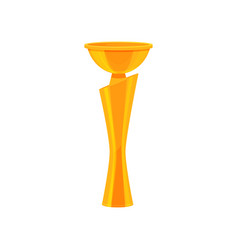 tall golden champion trophy shiny gold cup award vector image