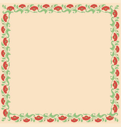Vintage square frame with red tulips vector