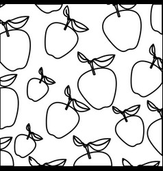 White background of monochrome pattern of apples vector