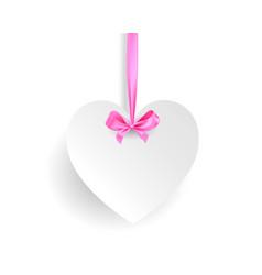 white heart banner vector image