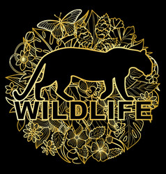 wildlife golden print with leopard and tropical vector image