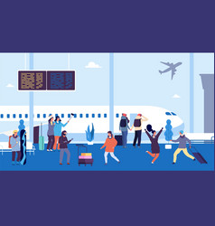 winter travel passengers wait flight meet and vector image