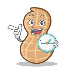 With clock peanut character cartoon style vector