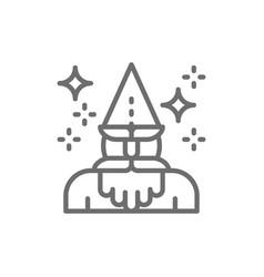 wizard magus magician thaumaturge line icon vector image