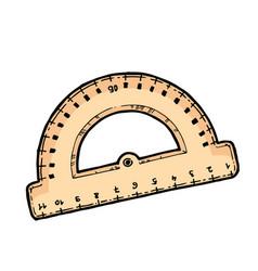 wooden ruler school equipment vector image