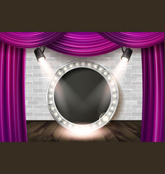wooden stage with violet curtain vector image