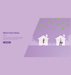 Work from home campaign concept for website vector
