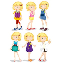 Young blonde girls vector