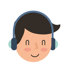 young man with earphone vector image