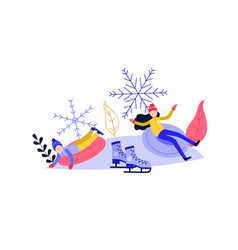 young woman and kid sledding and having fun on vector image