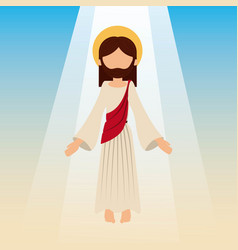 Ascension of jesus christ with blue sky vector