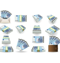 full set of twenty euros banknotes vector image