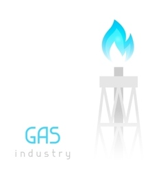 Gas rig drilling equipment with flame industrial vector