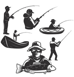 set of fishermans silhouettes fishing icons vector image