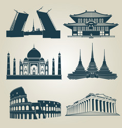 silhouettes of world tourist attractions vector image vector image