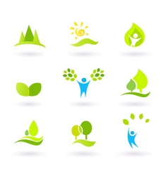 tree nature leaves icon set vector image vector image
