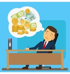 Businessman dreaming about money vector image vector image