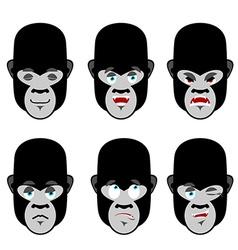 Gorilla emotions Set expressions avatar monkey vector image
