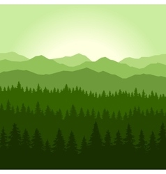Green Fog Coniferous Forest and Mountains vector image vector image
