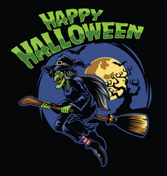 halloween design witch and fliying broom vector image vector image