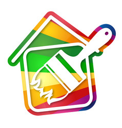 painting home sign vector image vector image