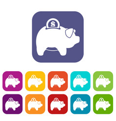 pig money box icons set vector image vector image