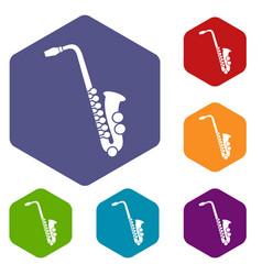 saxophone icons set vector image